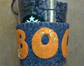 SALE 25% OFF BOO! Halloween Charcoal Gray & Orange Felt Cup Cozy