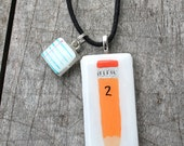 Hand Painted Pencil and Paper Painted Glass Necklace