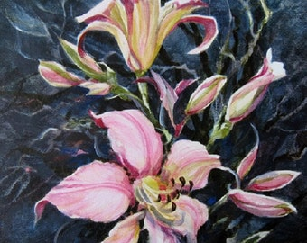 Pink Lily Acrylic Watercolor Original Painting On Canvas