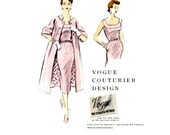 1950s Coat and Dress Pattern UNCUT Vogue Couturier Design 797 V8687 Reissue Pin Tuck Evening Sheath Dress and Duster Womens Sewing Pattern