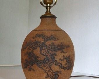 Vintage Midcentury Studio Pottery Lamp, Cypress Tree, Wheel Thrown