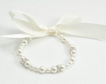 Pearl Flower Girl Bracelet, Flower Girl Jewelry, Junior Bridesmaid Jewelry, Child Pearl Bracelet, Wedding Jewelry, Bridal Pearl Jewelry