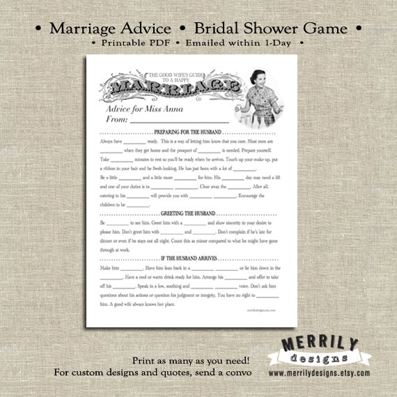 Bridal Shower Game - Printable - Retro Housewife
