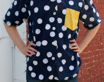 1980s ESPRIT Oversized Navy, White Dots Wax Print Shirt