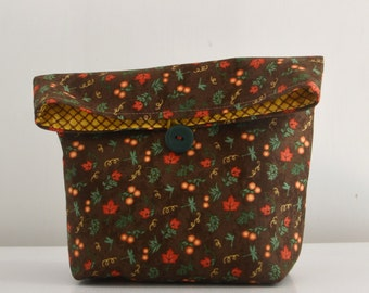 Fall leaves reusable lunch bag / cosmetic or travel pouch