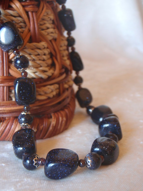 50% OFF CLEARANCE ~ Blue Goldstone and Garnet Choker Necklace and Earring Set