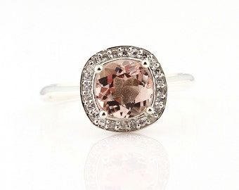 Natural AAA Pink Morganite  Solid 14K White Gold Diamond engagement  Halo Ring - Gem873---***********Special*********