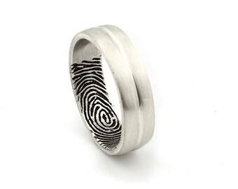 Custom Inner Fingerprint Grooved Ring - Sterling Silver Engraving Wedding Band-satin, Antique blackened 7mm