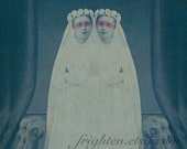 Mixed Media Collage, Religious Art, Collage Print, Siamese Twins, Teal and White Art, Haunting Art, Spooky Art