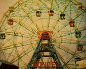 Coney Island Photo, Wonder Wheel, Polaroid Print, Carnival Art, Summer Photography, Colorful Art, Photography Print