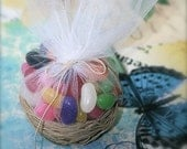 Nest favor basket,favor bag,favor box, candy bag, candy box,with white tulle great for wedding, baby shower, bridal shower,birthday party