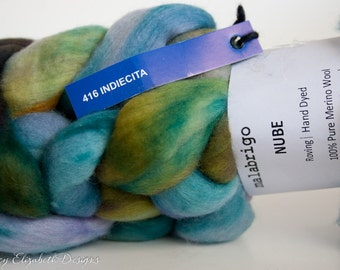 SUPER SOFT Malabrigo Nube Hand Dyed 100% merino wool top- 416 Indiecita  -Luxury fiber for HandSpinning Needlefelting Felting Thrumbed Mitts