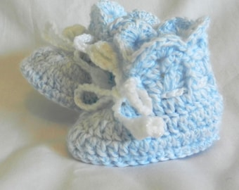 Baby Booties 3 - 6 - 9 Months Blue White Vareigated Crochet