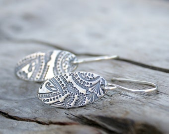 Sterling and Fine Silver Mehndi Paisley Oval Dangly Earrings with Antiqued Finish.