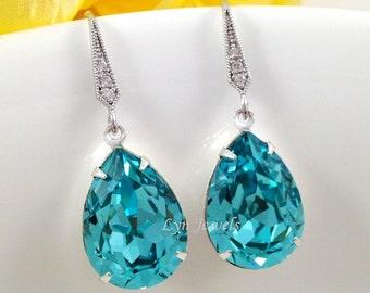 Teal Blue Earrings, Seafoam Green Bridesmaids Earrings, Light Turquoise Swarovski Crystal Teardrop Earrings, Prom Wedding Earrings