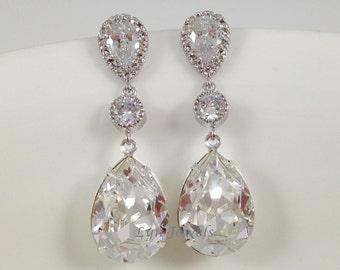 Long Crystal Earrings - Wedding Bridal Swarovski Crystal Teadrop Dangle Earrings Cubic Zirconia Sterling Silver Bridesmaids Prom Earrings