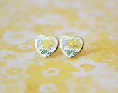 Yellow Chrysanthemum Earrings - Heart Earrings - Surgical Steel Earrings - Vintage Cabochons - Yellow Jewelry - Enamel Earrings