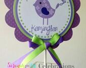 Sweet Tweet Collection in Purple & Green: Smash Cake Topper -Birdie Birthday -Bird small centerpiece