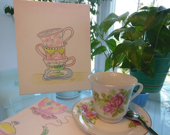 Tea Cup Art Sale - Watercolor Stacked Teacups Canvas Art  ~~ Girls Playroom  * Pink, Lime Green, Emerald Green and Blue  ~~ Glitter Accent