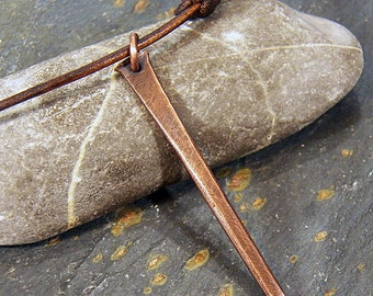 Antique Cut Nail - Copper Spike Pendant Necklace - Rustic - Industrial - Men's or boy's jewelry - Leather cord Necklace / Choker