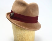 Camel Velour Fur Felt Fedora Hat with Wide Grosgrain and Fly Pin Bling - Womens Hat/Couture Hat/Millinery