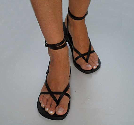 Delicate And Stylish Double Ankle Strap Leather Sandals By