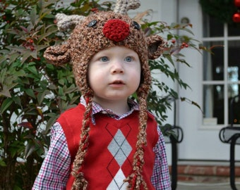 Reindeer Hat with Ear Flaps--6-12 mo, Toddler or Child sizes--Crocheted Rudolf--Perfect Holiday Photo Prop