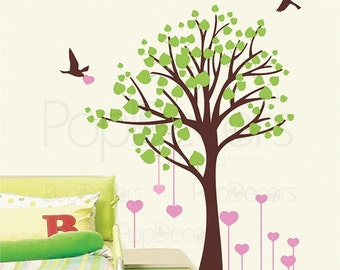 """Girls Room Tree Decals Pink Heart Stickers Flying Birds Wall Art Nature Tree- Living with Love-(71"""" H) -Designed  by Pop Decors pt0145"""