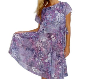 Vintage Dress, 80s Summer Dress, Purple Lavender Floral Dress, Size Small - Medium