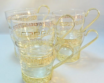 Vintage Libbey Cups / Mugs Set of 6-7 oz. Lot Greek Key Continental  Metal Handles Drinking Lot Glassware Glasses Mid Century Retro Art Deco