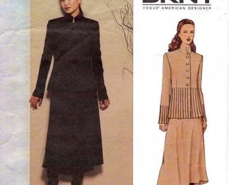 DKNY Womens Pintucked Below Hip Jacket & Skirt Vogue Sewing Pattern 2621 Size 12 Bust 34 UnCut Vogue American Designer Patterns