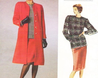 80s Bill Blass Womens A Line Coat, Skirt & Top Vogue American Designer Sewing Pattern 1788 Size 8 10 12 Bust 31 1/2 to 34