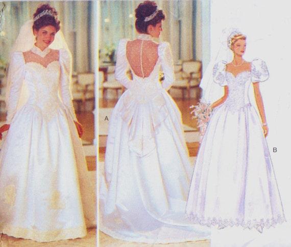 90s butterick sewing pattern 3839 womens wedding dress size 14 16 18