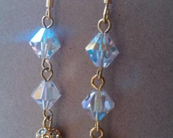 Swarovski pave drop earrings