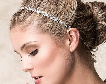 Bridal Hair Accessories, Bridal Wedding Headband, Swarovski Crystal Headband, Art Deco Single Strand Oval Rhinestone Headband (CHRISTINE)