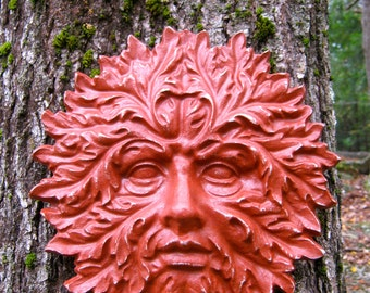 Garden Green Man, Concrete Hanging Face, Red Painted Cement Figure, Greenman Face, Concrete Face, Green Man Tree Decor, Cement Green Man
