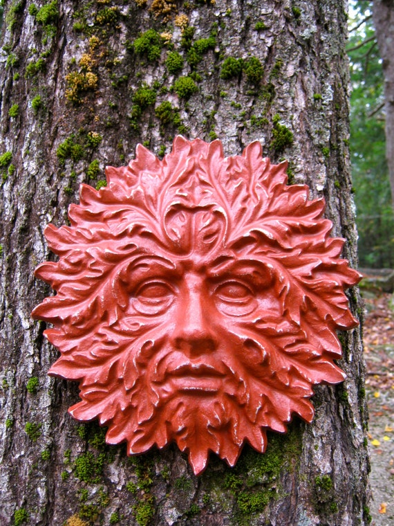 Garden Green Man Concrete Hanging Face Red Painted Cement