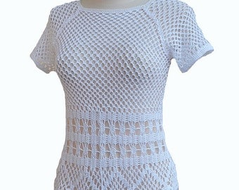 white Crochet top, lace blouse, lace top, made to order, HALTER TOP, festival top, crochet tank, halter top, Festival clothing, beach cover