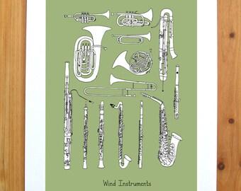 Wind Instruments 8.5 X 11 Print