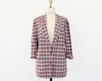 80s Plaid Blazer, Slouchy Linen Cotton Preppy Oversized red blue white rumpled worn in menswear inspired hipster Spring Summer office jacket