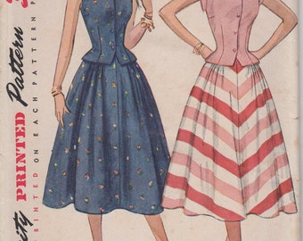FACTORY FOLDED 1950's Misses' Two-Piece Dress Simplicity 3582 Size 14 Bust 32