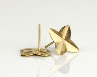 Solid gold stud earrings, yellow gold earrings, fine gold jewelry, unique gold earrings, gift ideas for women