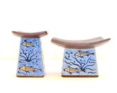 Vintage Asian Style Ceramic Candle Holders