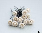 Bridal hair pins - 12pcs - tiny flowers wedding accessories - Bridal cream pearl floral hair piece - jewelry Israel