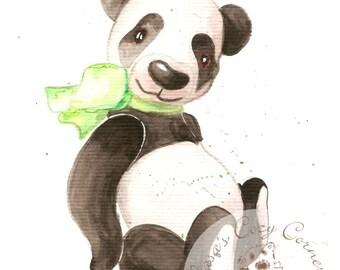 Nursery Wall art, Nursery decor, Kids decor, Children's Wall art , OOAK original  water color aquarell  drawing Panda Benji