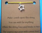 WISH STRING Bracelet STAR Cord Color Choice