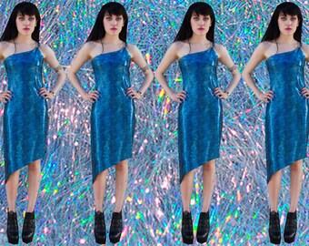 90's holographic asymmetrical dress