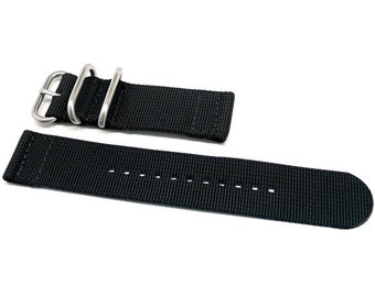 Two Piece Ballistic Nylon NATO Watch Strap - Black
