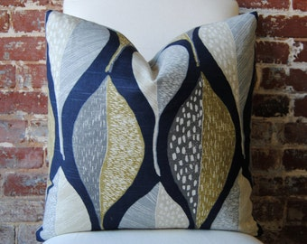 Woodblock Leaf - Indigo -  Pillow Cover - 20 in square - Designer Pillow - Decorative Pillow