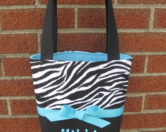 Zebra Print, Black and White Small Bag, Purse, Tote, Little Girls Purse, You Choose Accent and Inside Color, Personalization Included